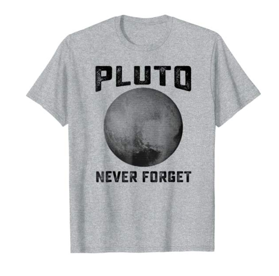 """pluto never forget"" graphic tee gift ideas on amazon"