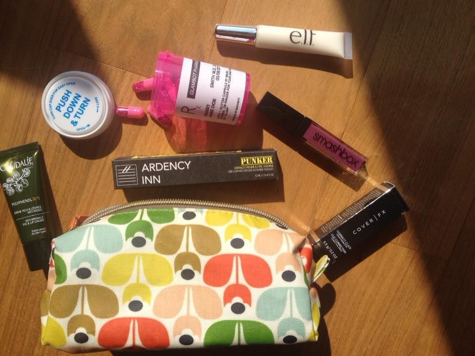 makeup bag and product