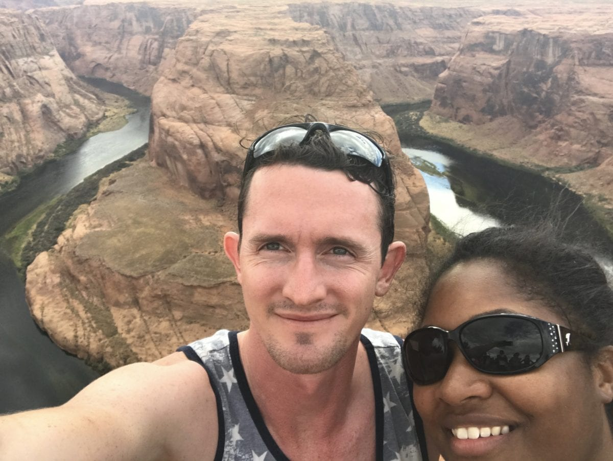Jasmine Watts and Chris Drown at horseshoe bend : reflect on my goals