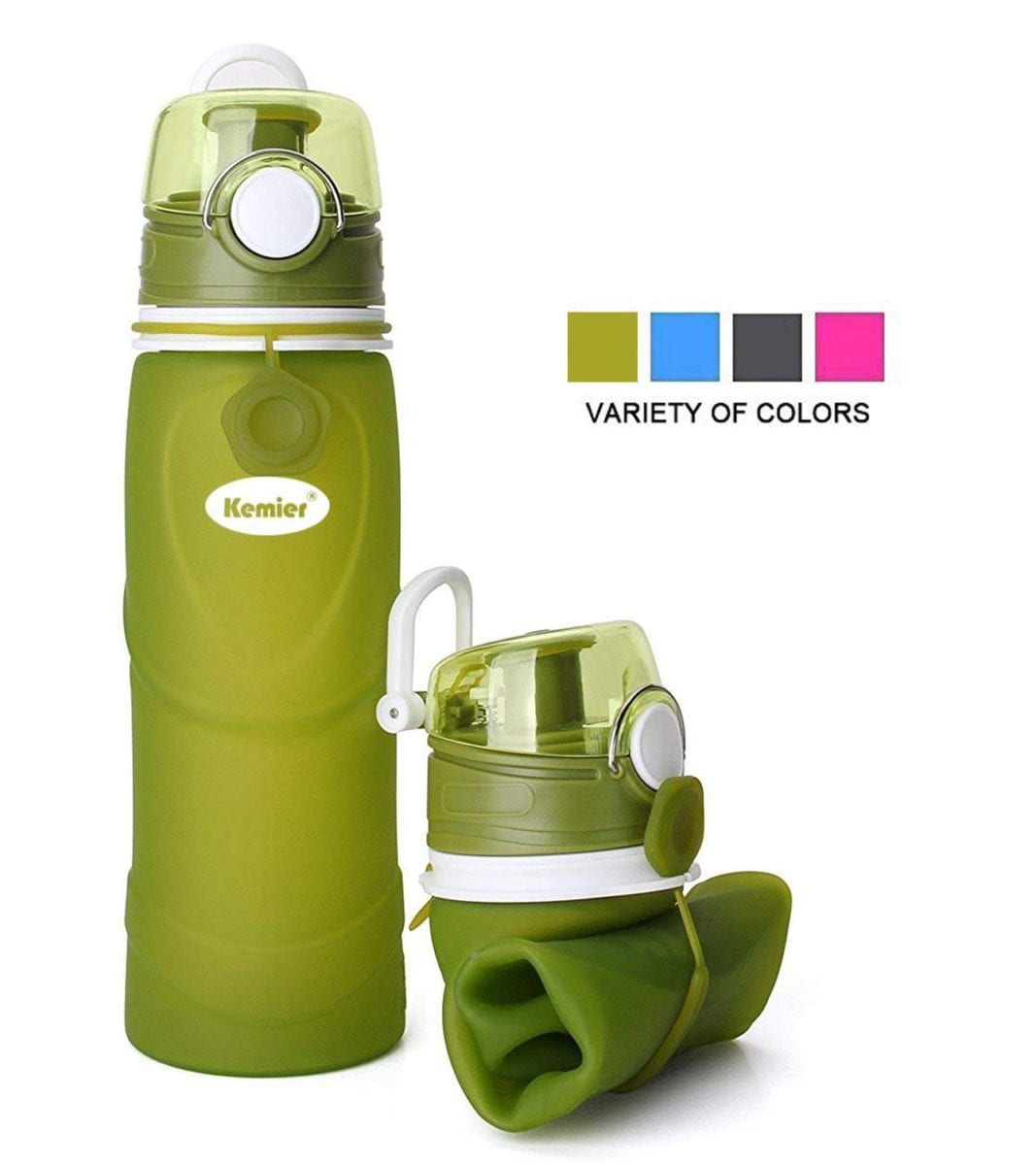 Kemier Collapsible Silicone Water Bottles can roll up and is great gift ideas for travelers