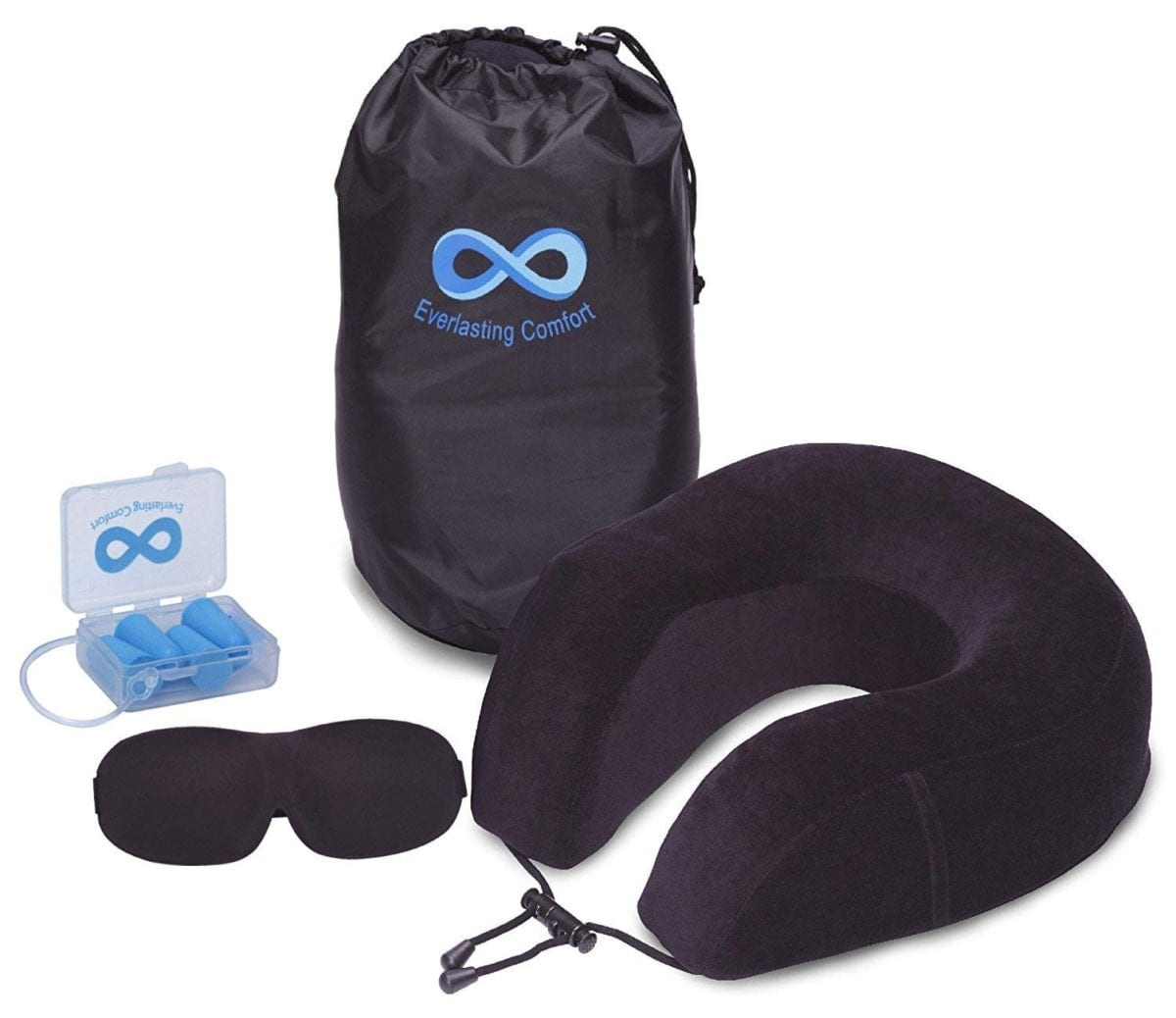 Everlasting Comfort 100% Pure Memory Foam Neck travel Pillow Airplane Travel Kit with Ultra Plush Velour Cover, Sleep Mask and Earplugs amazing gift ideas for travelers