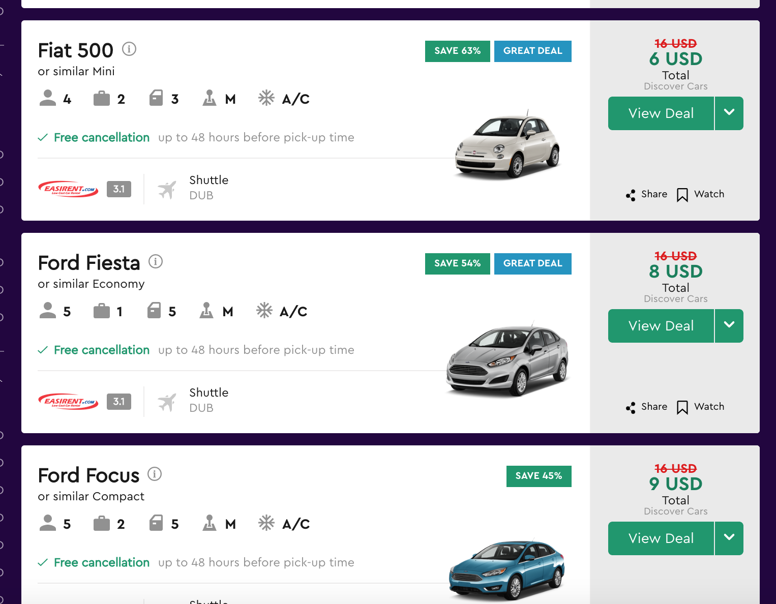 car rentals on Momondo