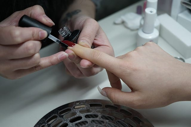 person getting a manicure