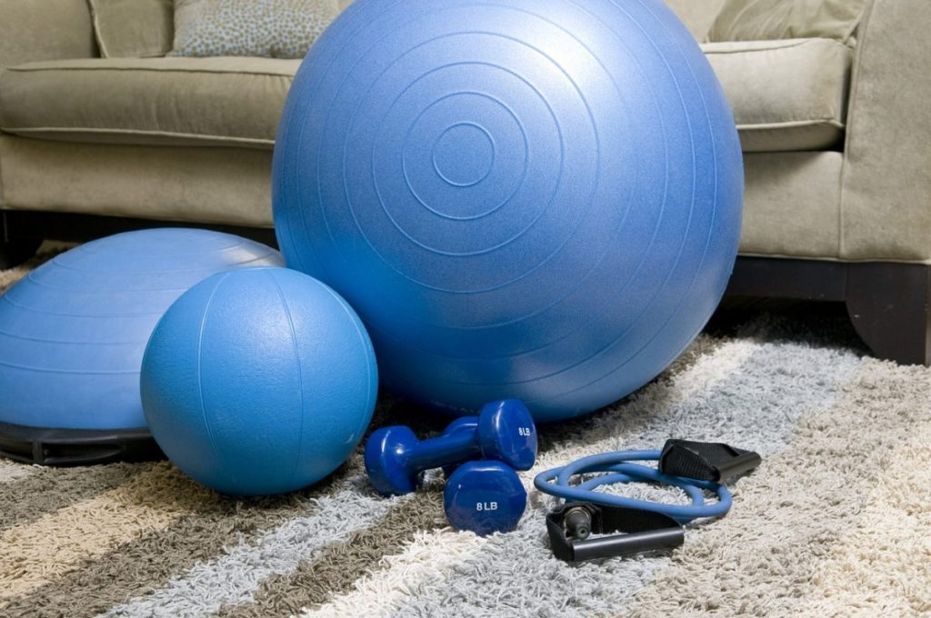 blue gym equipment in a living room