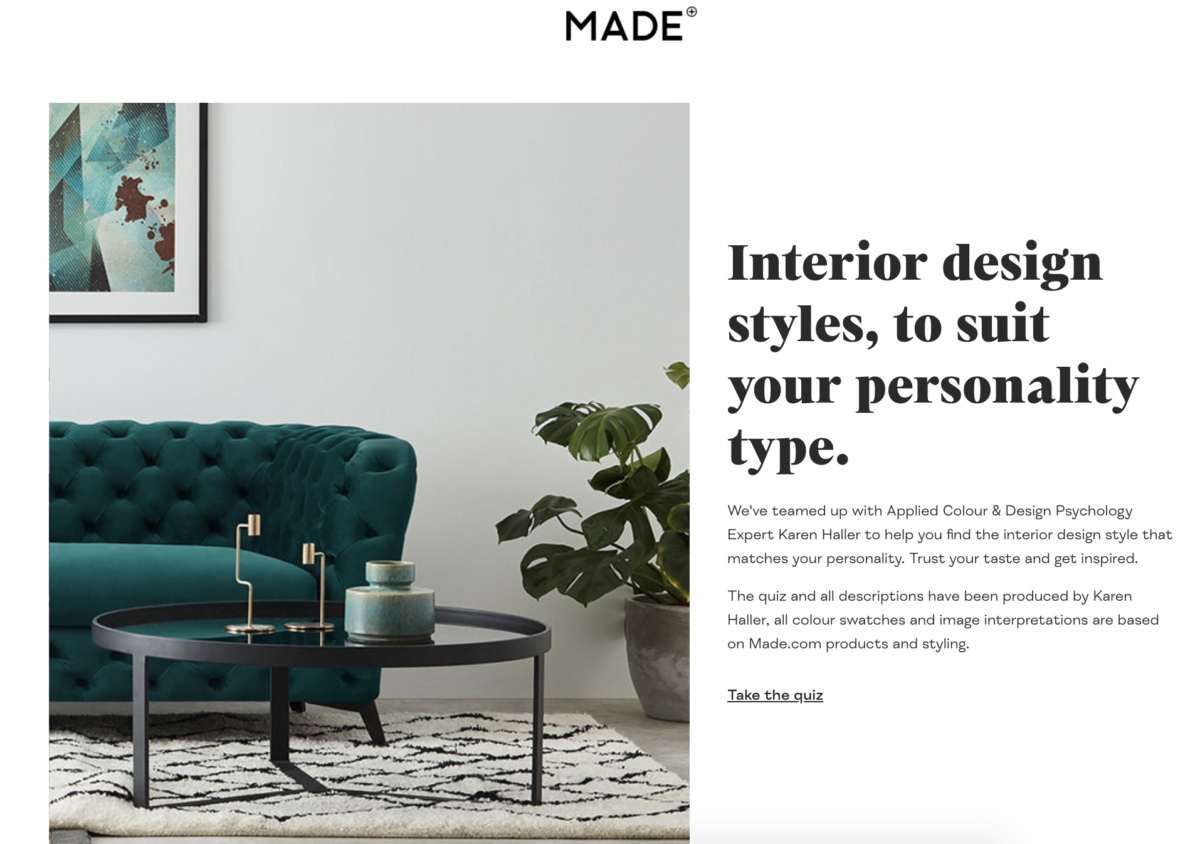 Made.com interior design style quiz