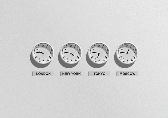 Timezones in London, New York, Tokyo, and Moscow