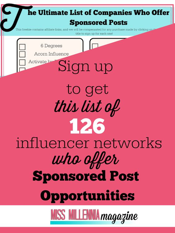 126 Influencer Networks who offer Sponsored Post Opportunities