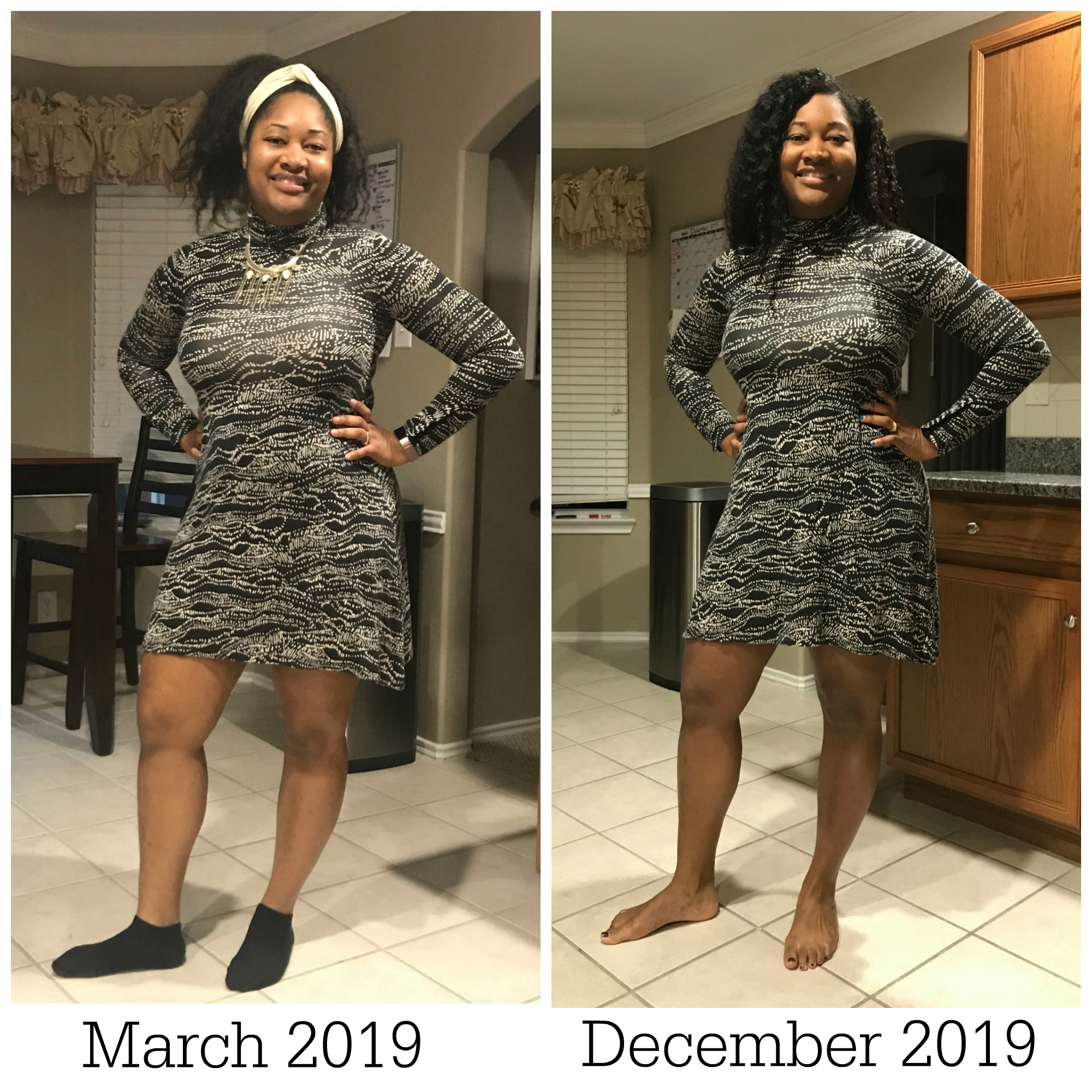 March 2019 vs. December 2019 weight loss journey