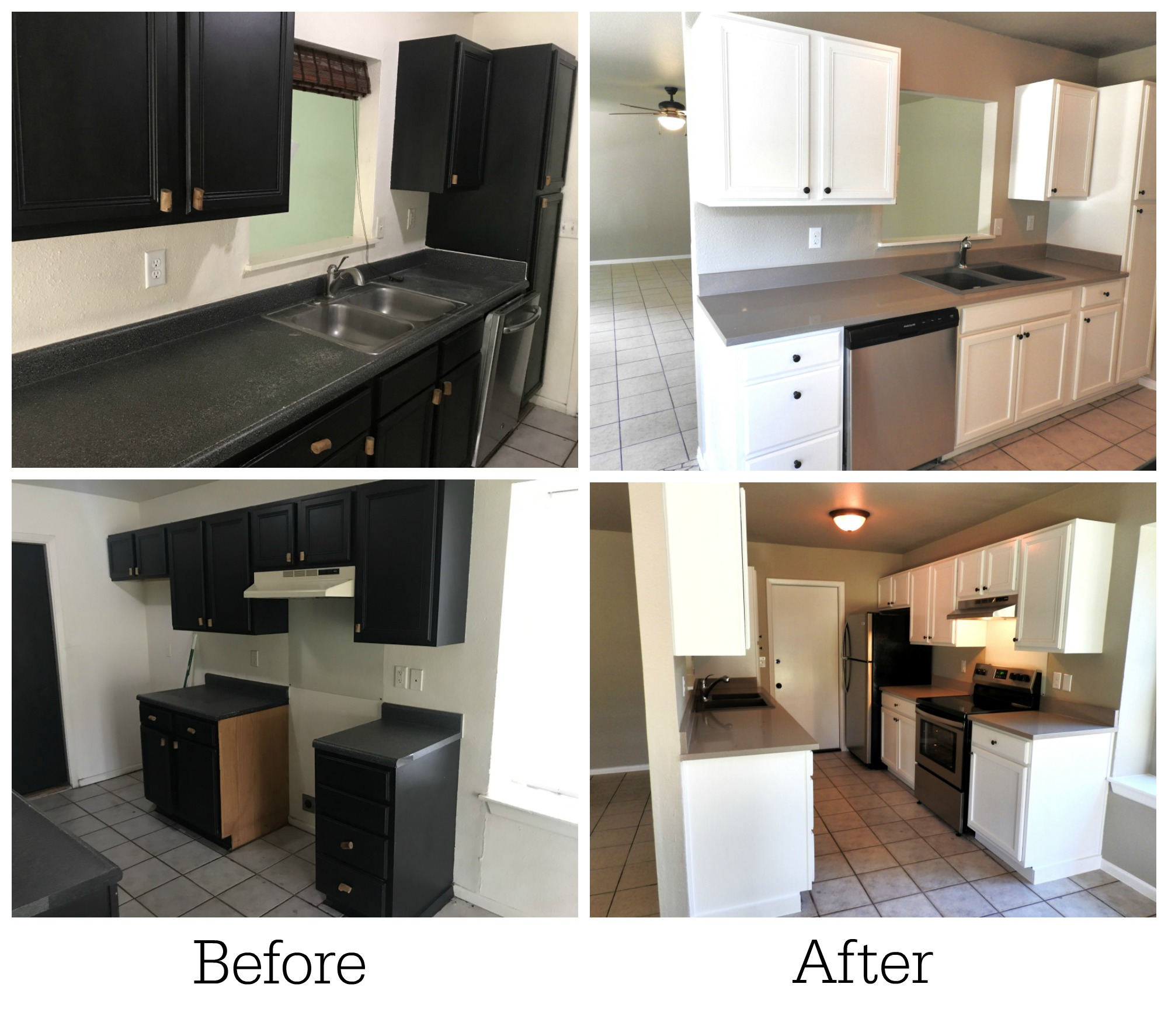 before and after renovating our kitchen for real estate investing