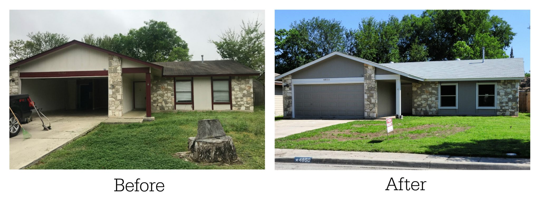 before and after outside of house for my first real estate investing