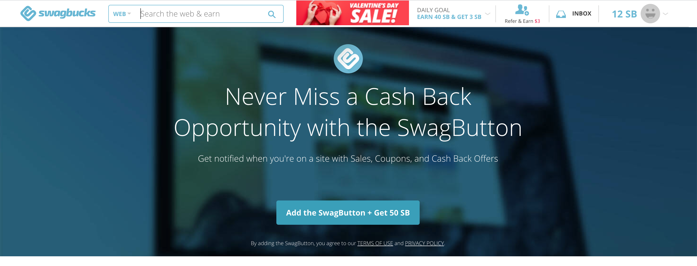 never miss a cash back opportunity with the swagbutton
