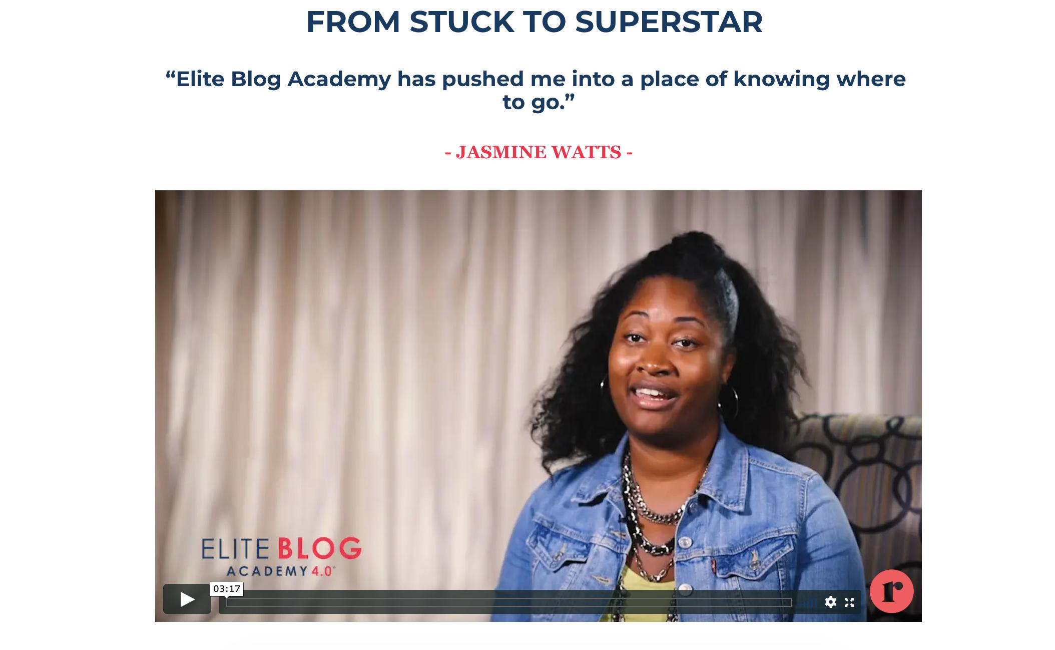 from stuck to superstar Jasmine Watts interview with Elite Blog Academy