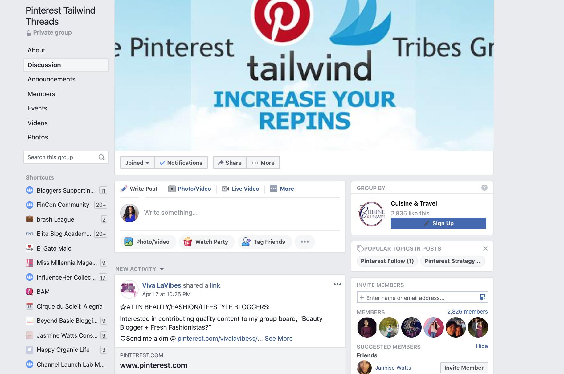 Pinterest Tailwind Threads