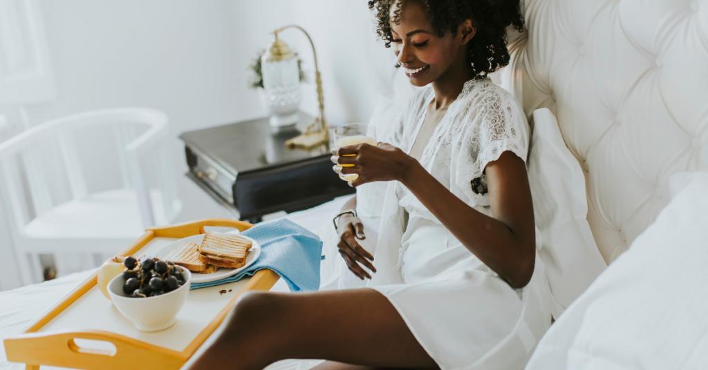 Woman having a relaxing breakfast