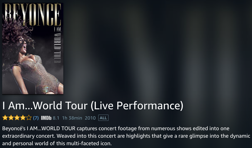 Beyonce I Am... World Tour (Live Performance) on Amazon Prime