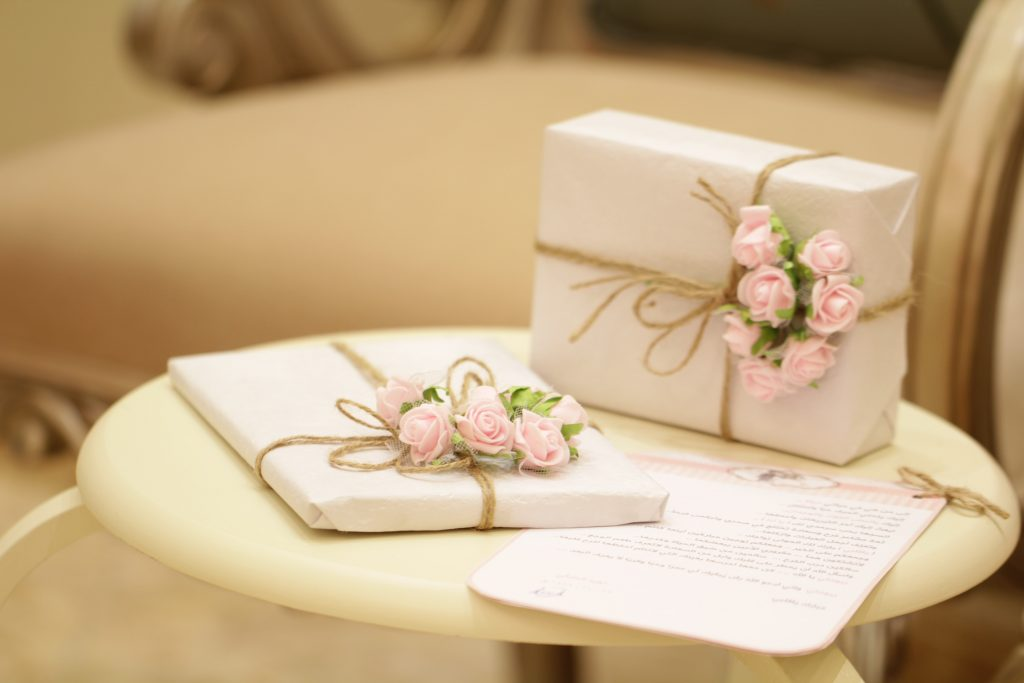 Gifts placed on a table