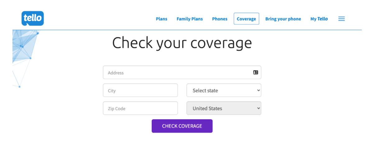 Tello Mobile: check your coverage