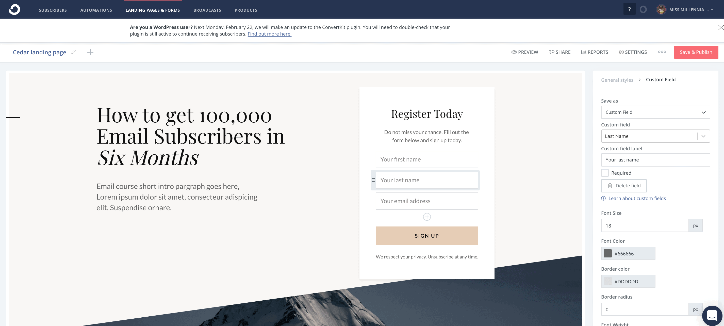 Convertkit page builder tool - ConvertKit vs LeadPages