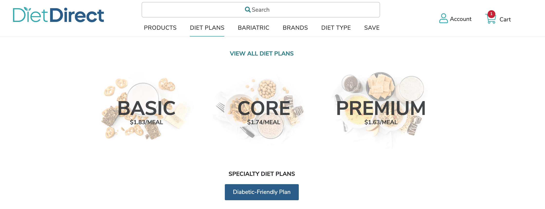 Basic, core, and premium diet direct plans