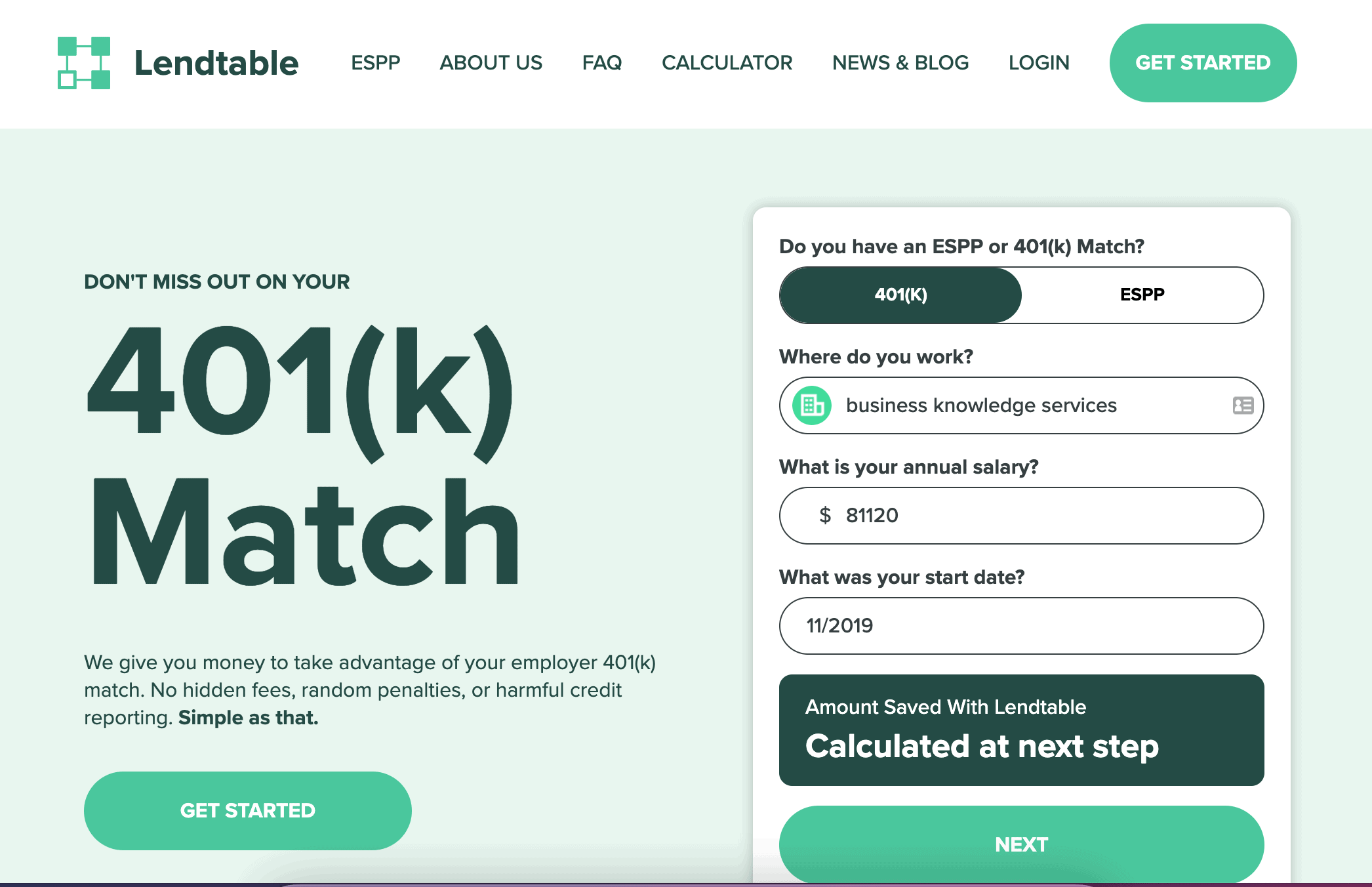 Lendtable | Dont miss out on your 401(k) match