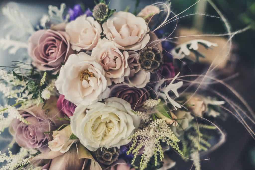 A bouquet of artificial flowers.